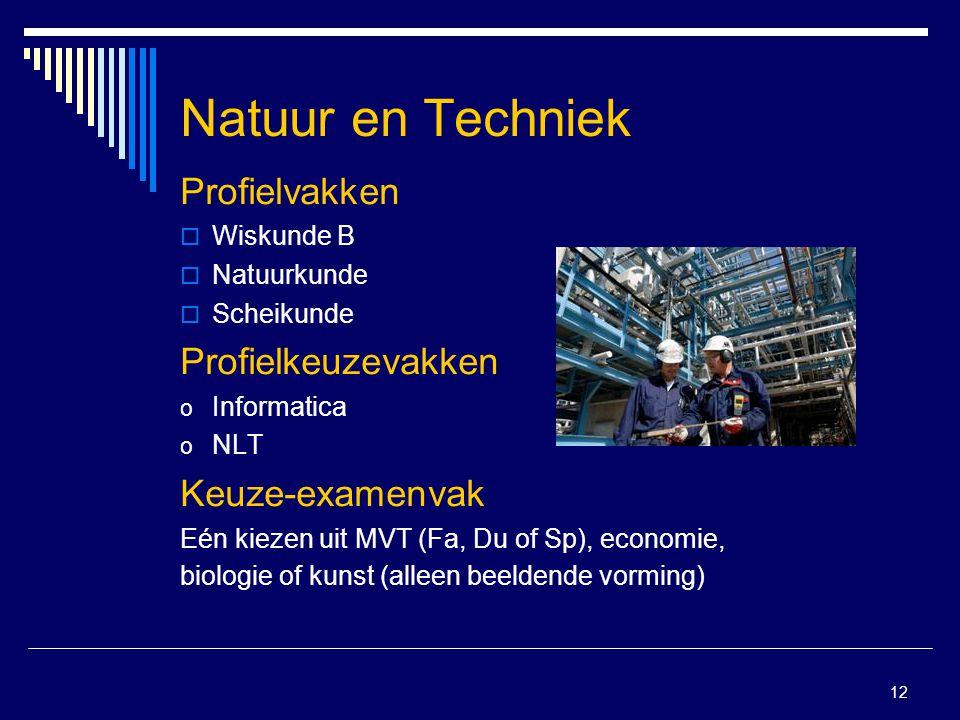 12 Natuur en Techniek Profielvakken  Wiskunde B  Natuurkunde  Scheikunde Profielkeuzevakken o Informatica o NLT Keuze-examenvak Eén kiezen uit MVT