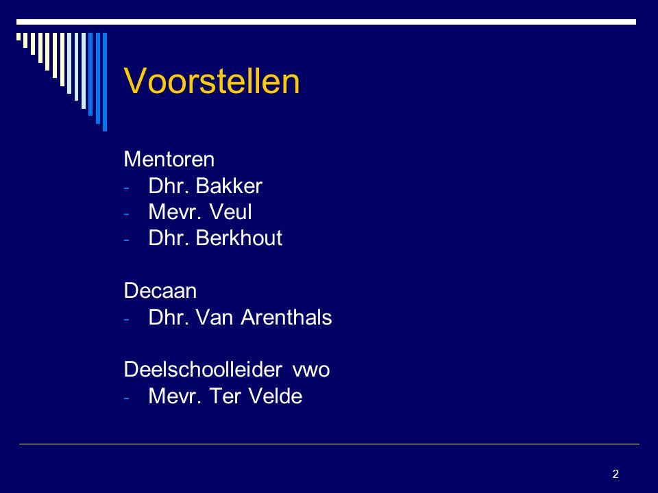 2 Voorstellen Mentoren - Dhr. Bakker - Mevr. Veul - Dhr. Berkhout Decaan - Dhr. Van Arenthals Deelschoolleider vwo - Mevr. Ter Velde