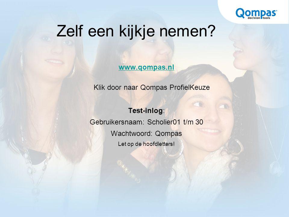 Zelf een kijkje nemen? www.qompas.nl Klik door naar Qompas ProfielKeuze Test-inlog: Gebruikersnaam: Scholier01 t/m 30 Wachtwoord: Qompas Let op de hoo