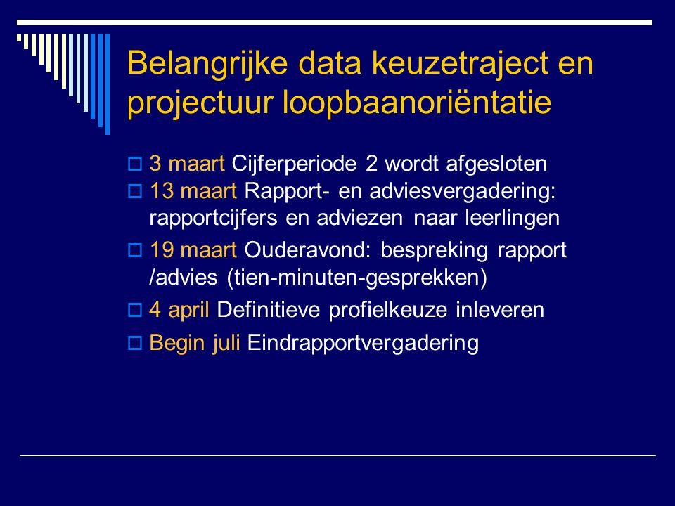 Belangrijke data keuzetraject en projectuur loopbaanoriëntatie  3 maart Cijferperiode 2 wordt afgesloten  13 maart Rapport- en adviesvergadering: ra