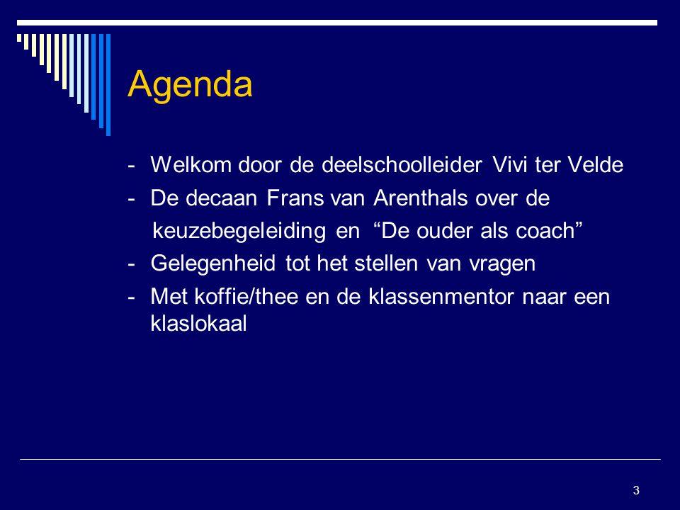 """3 Agenda -Welkom door de deelschoolleider Vivi ter Velde -De decaan Frans van Arenthals over de keuzebegeleiding en """"De ouder als coach"""" - Gelegenheid"""