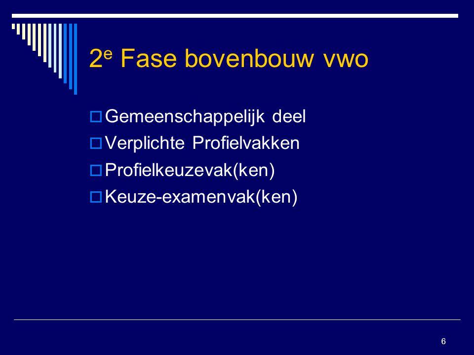 6 2 e Fase bovenbouw vwo  Gemeenschappelijk deel  Verplichte Profielvakken  Profielkeuzevak(ken)  Keuze-examenvak(ken)