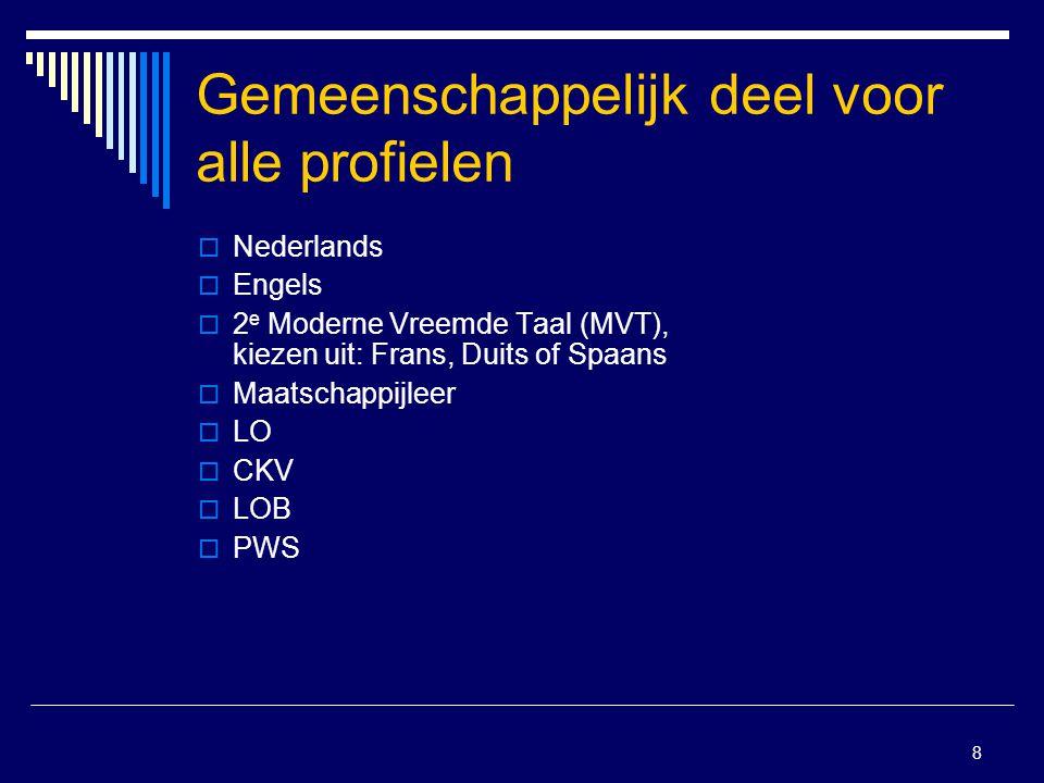 8 Gemeenschappelijk deel voor alle profielen  Nederlands  Engels  2 e Moderne Vreemde Taal (MVT), kiezen uit: Frans, Duits of Spaans  Maatschappij