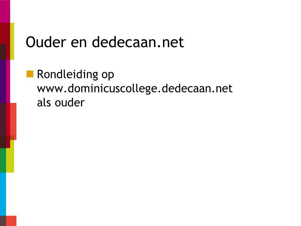 Ouder en dedecaan.net Rondleiding op www.dominicuscollege.dedecaan.net als ouder