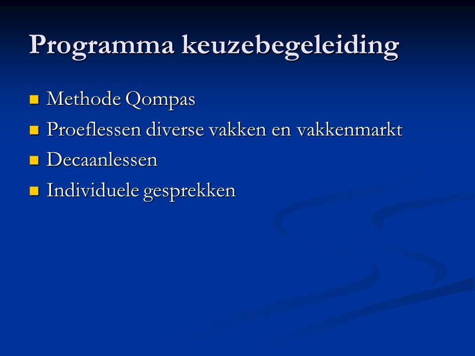 Programma keuzebegeleiding Methode Qompas Methode Qompas Proeflessen diverse vakken en vakkenmarkt Proeflessen diverse vakken en vakkenmarkt Decaanlessen Decaanlessen Individuele gesprekken Individuele gesprekken