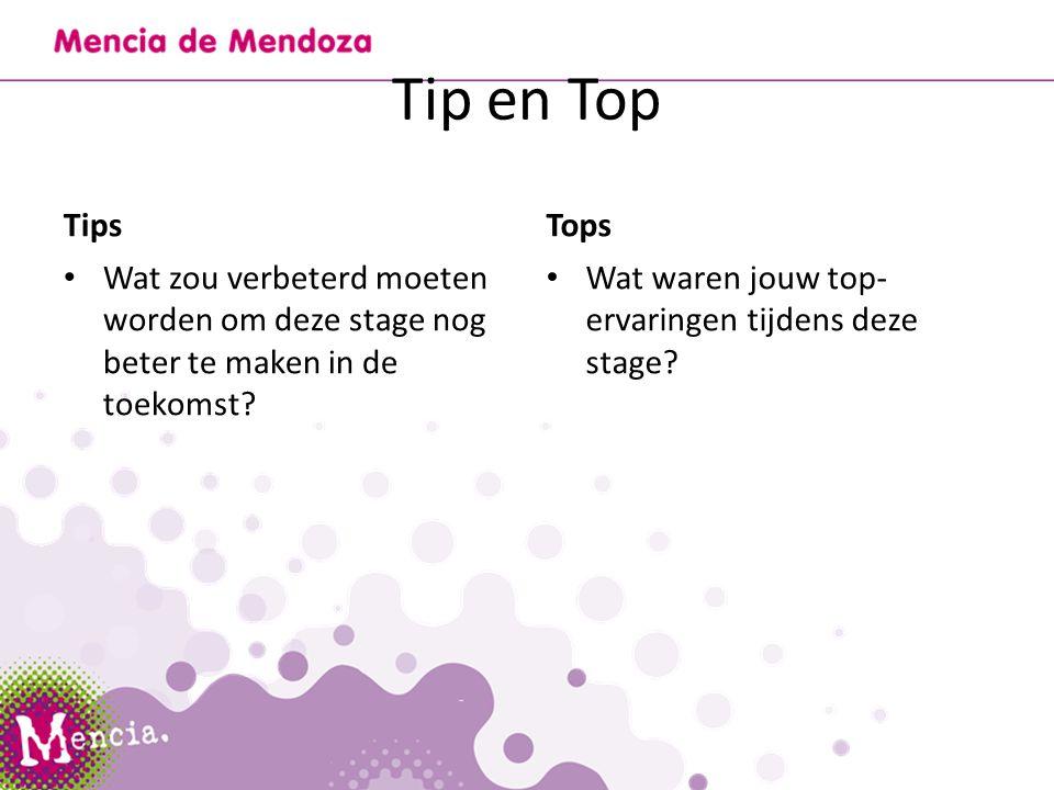 Tip en Top Tips Wat zou verbeterd moeten worden om deze stage nog beter te maken in de toekomst.