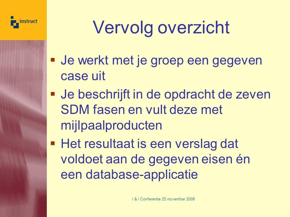 Vervolg overzicht  Je werkt met je groep een gegeven case uit  Je beschrijft in de opdracht de zeven SDM fasen en vult deze met mijlpaalproducten  Het resultaat is een verslag dat voldoet aan de gegeven eisen én een database-applicatie i & i Conferentie 25 november 2008
