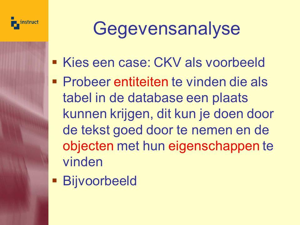 Gegevensanalyse  Kies een case: CKV als voorbeeld  Probeer entiteiten te vinden die als tabel in de database een plaats kunnen krijgen, dit kun je doen door de tekst goed door te nemen en de objecten met hun eigenschappen te vinden  Bijvoorbeeld
