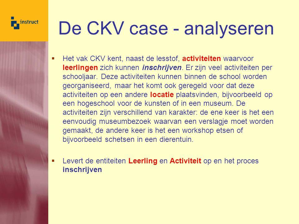 De CKV case - analyseren  De school beschikt natuurlijk over een geautomatiseerd administratiesysteem met alle informatie over de leerlingen.