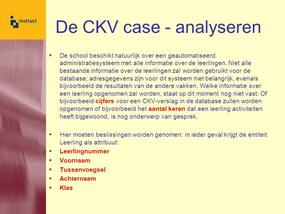 CKV Case – Analyseren  De huidige administratie omvat bladen waarop wordt bijgehouden welke activiteiten er zijn.