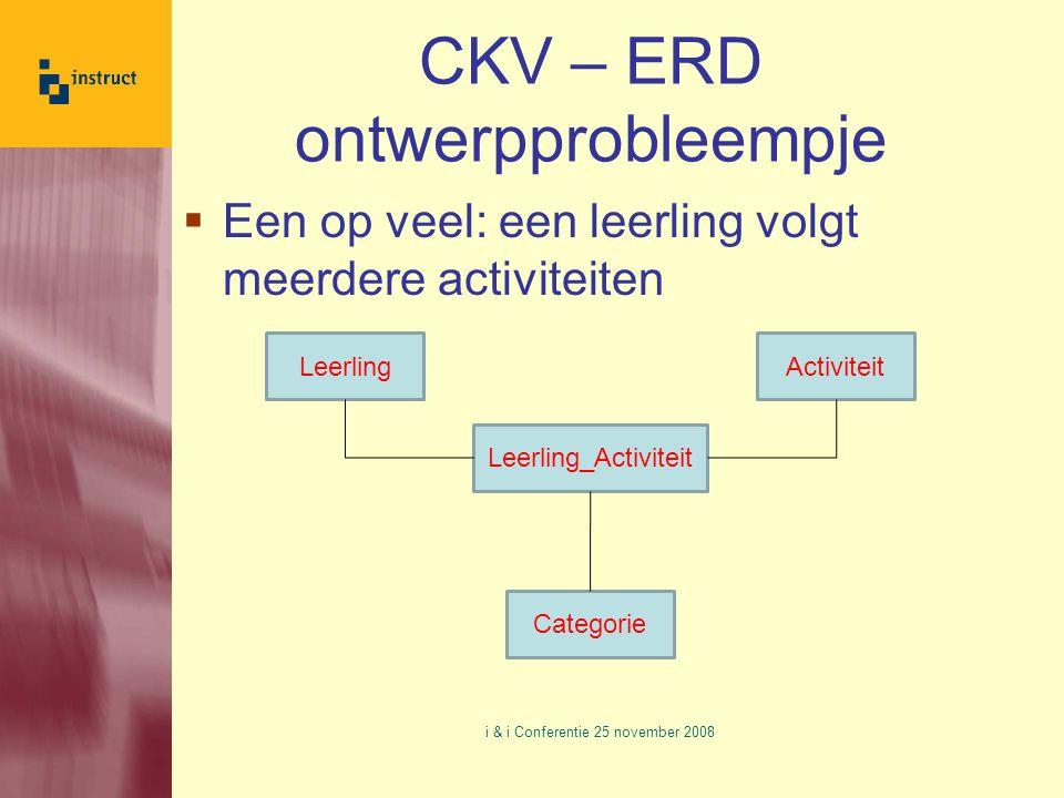 CKV – ERD ontwerpprobleempje  Een op veel: een leerling volgt meerdere activiteiten i & i Conferentie 25 november 2008 LeerlingActiviteit Leerling_Activiteit Categorie