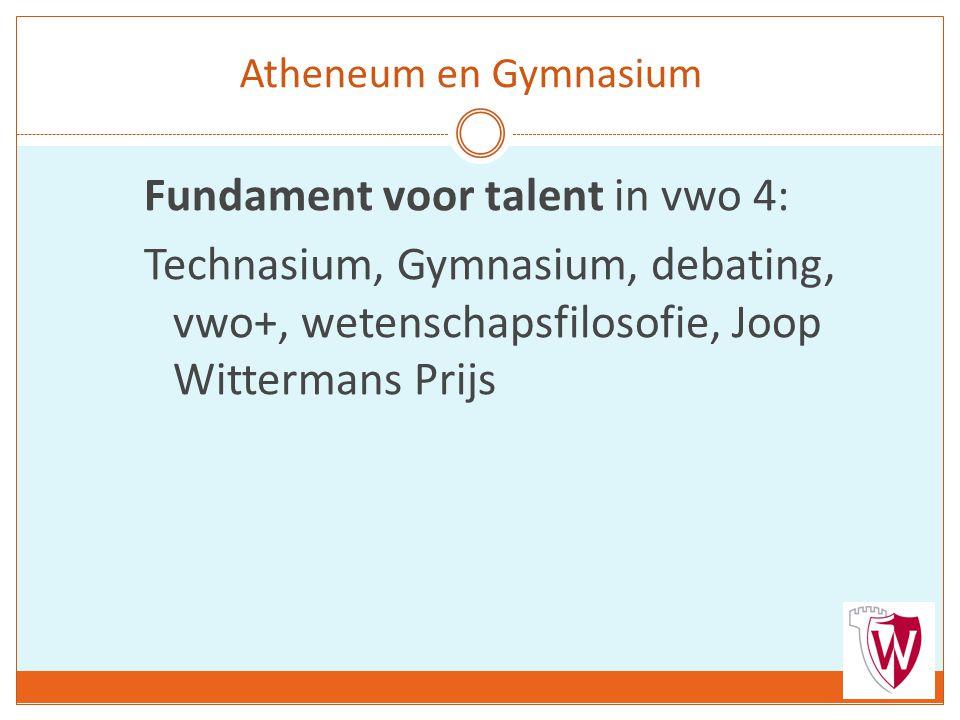 Atheneum en Gymnasium Fundament voor talent in vwo 4: Technasium, Gymnasium, debating, vwo+, wetenschapsfilosofie, Joop Wittermans Prijs