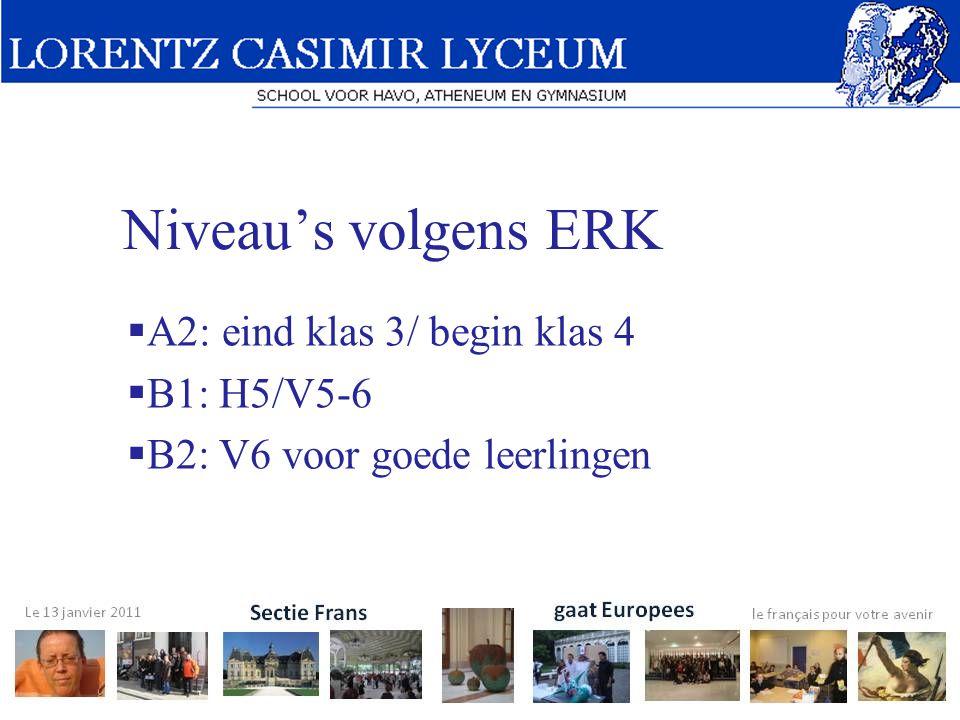 Niveau's volgens ERK  A2: eind klas 3/ begin klas 4  B1: H5/V5-6  B2: V6 voor goede leerlingen