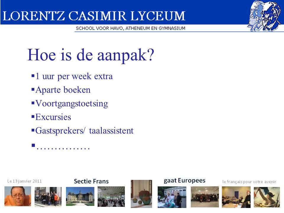 Hoe is de aanpak?  1 uur per week extra  Aparte boeken  Voortgangstoetsing  Excursies  Gastsprekers/ taalassistent  ……………