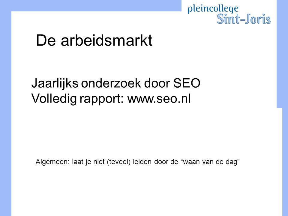 """De arbeidsmarkt Jaarlijks onderzoek door SEO Volledig rapport: www.seo.nl Algemeen: laat je niet (teveel) leiden door de """"waan van de dag"""""""