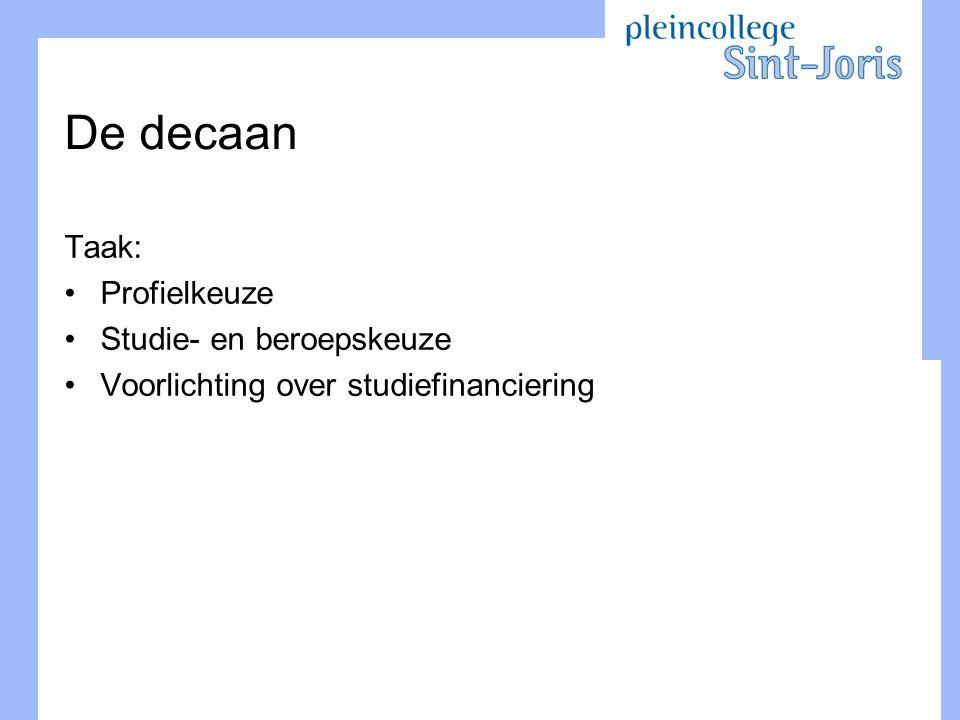 De decaan Taak: Profielkeuze Studie- en beroepskeuze Voorlichting over studiefinanciering