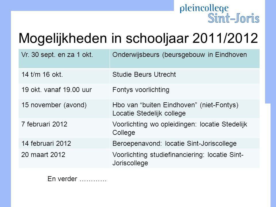 Mogelijkheden in schooljaar 2011/2012 Vr. 30 sept. en za 1 okt.Onderwijsbeurs (beursgebouw in Eindhoven 14 t/m 16 okt.Studie Beurs Utrecht 19 okt. van