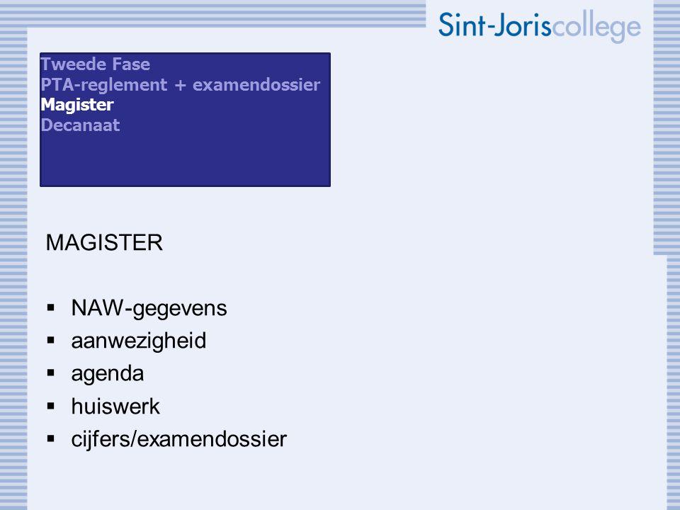 MAGISTER  NAW-gegevens  aanwezigheid  agenda  huiswerk  cijfers/examendossier Tweede Fase PTA-reglement + examendossier Magister Decanaat
