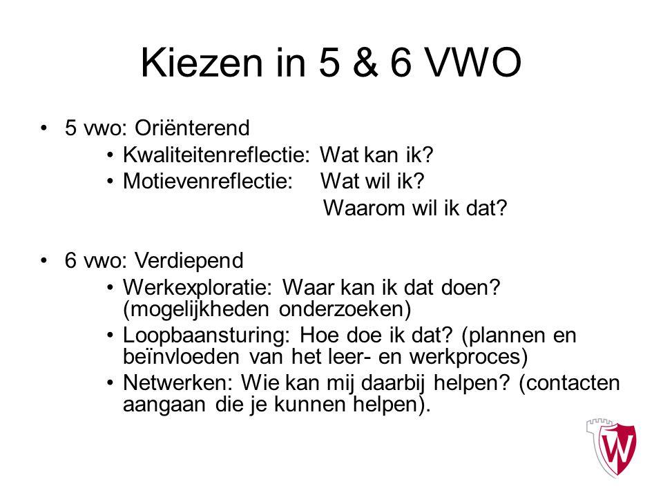 Kiezen in 5 & 6 VWO 5 vwo: Oriënterend Kwaliteitenreflectie: Wat kan ik? Motievenreflectie: Wat wil ik? Waarom wil ik dat? 6 vwo: Verdiepend Werkexplo