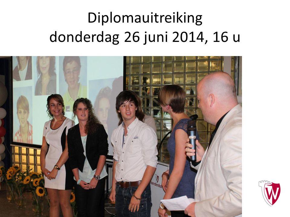 Diplomauitreiking donderdag 26 juni 2014, 16 u