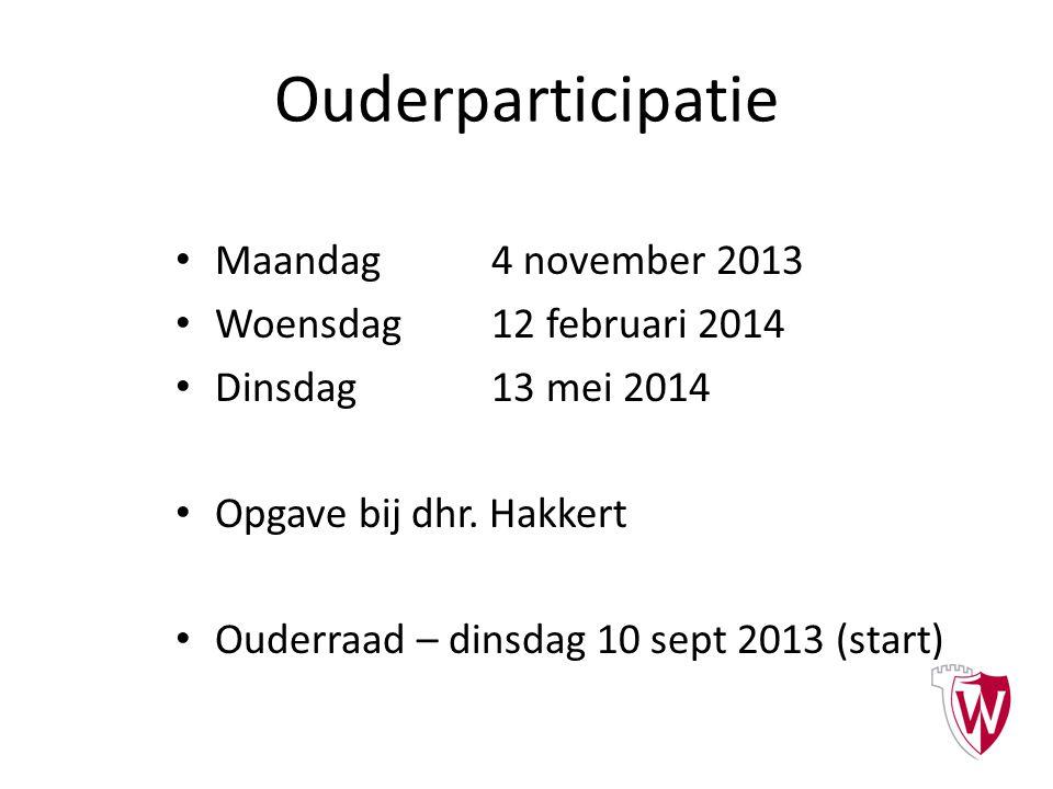 Ouderparticipatie Maandag 4 november 2013 Woensdag12 februari 2014 Dinsdag13 mei 2014 Opgave bij dhr. Hakkert Ouderraad – dinsdag 10 sept 2013 (start)