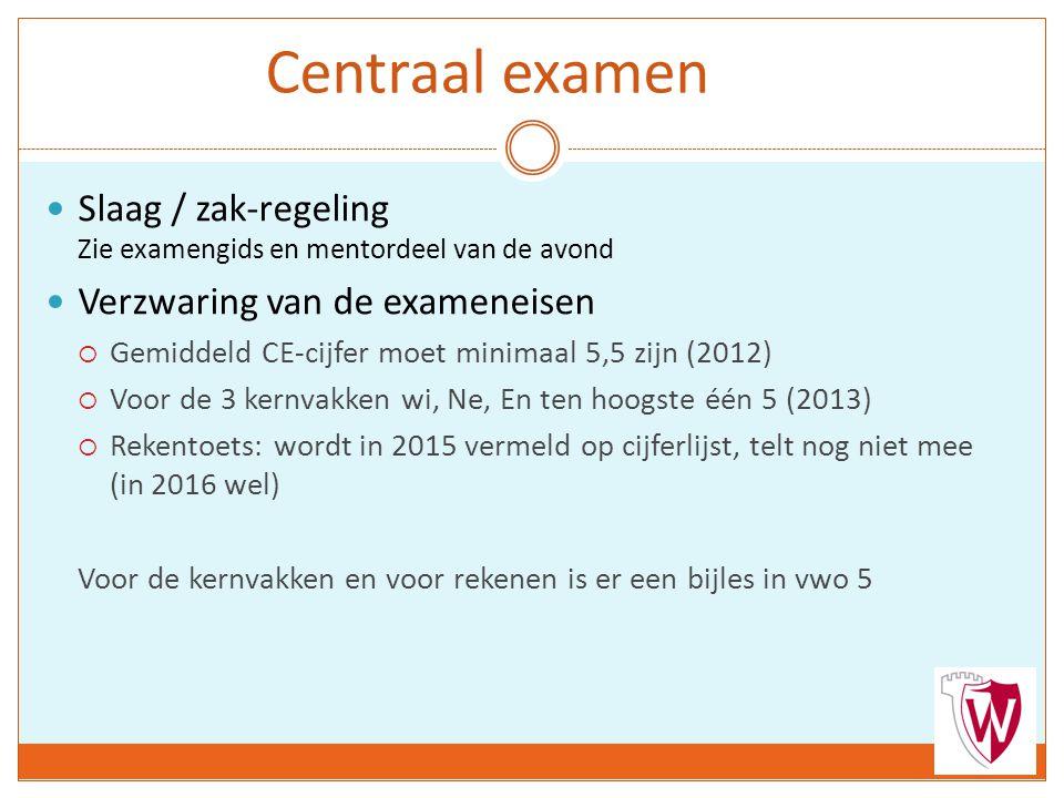 Centraal examen Slaag / zak-regeling Zie examengids en mentordeel van de avond Verzwaring van de exameneisen  Gemiddeld CE-cijfer moet minimaal 5,5 zijn (2012)  Voor de 3 kernvakken wi, Ne, En ten hoogste één 5 (2013)  Rekentoets: wordt in 2015 vermeld op cijferlijst, telt nog niet mee (in 2016 wel) Voor de kernvakken en voor rekenen is er een bijles in vwo 5