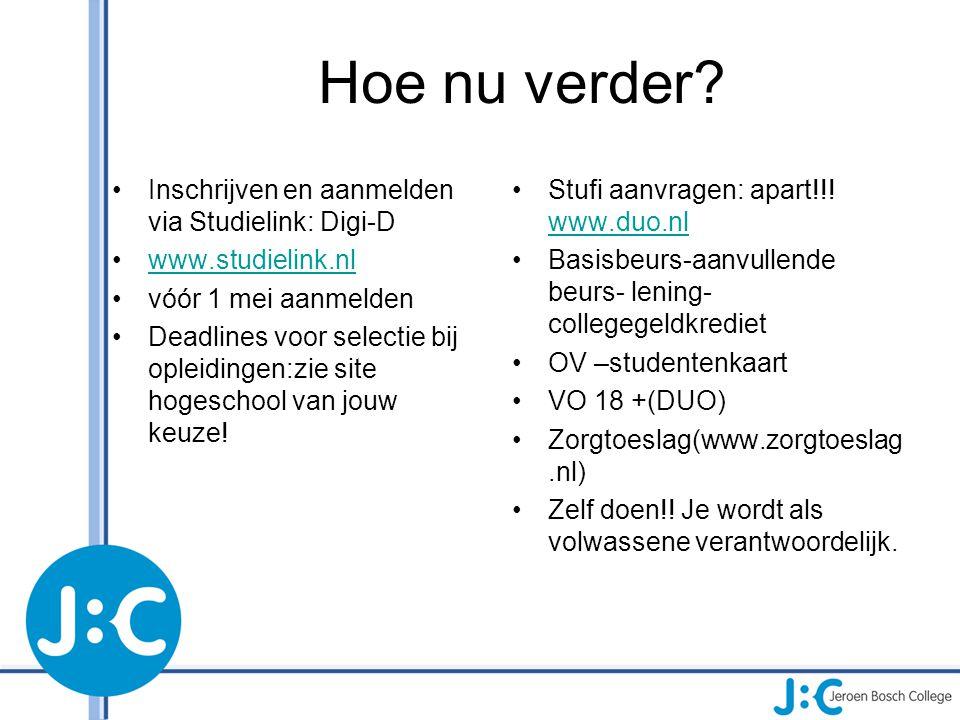 Hoe nu verder? Inschrijven en aanmelden via Studielink: Digi-D www.studielink.nl vóór 1 mei aanmelden Deadlines voor selectie bij opleidingen:zie site