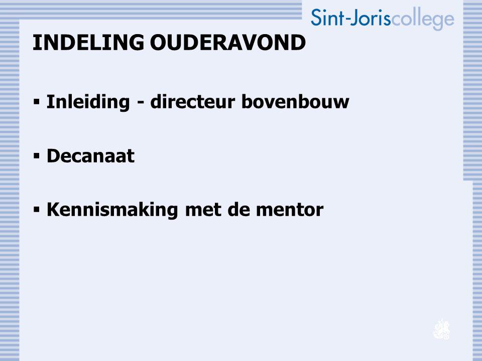 INDELING OUDERAVOND  Inleiding - directeur bovenbouw  Decanaat  Kennismaking met de mentor