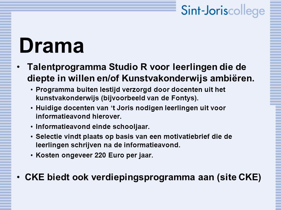 Drama Talentprogramma Studio R voor leerlingen die de diepte in willen en/of Kunstvakonderwijs ambiëren.