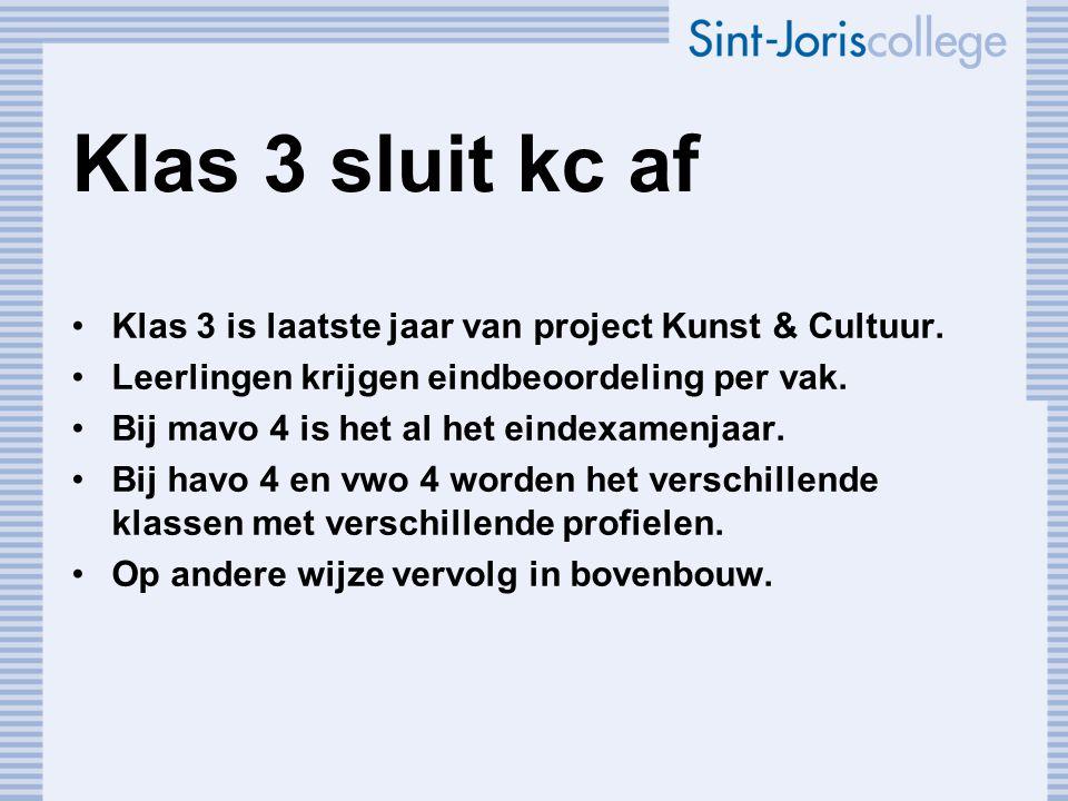 Klas 3 sluit kc af Klas 3 is laatste jaar van project Kunst & Cultuur.