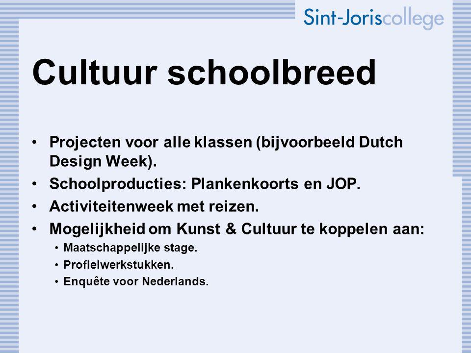 Cultuur schoolbreed Projecten voor alle klassen (bijvoorbeeld Dutch Design Week). Schoolproducties: Plankenkoorts en JOP. Activiteitenweek met reizen.