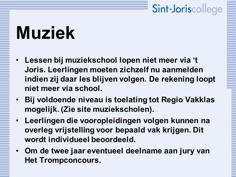 Muziek Lessen bij muziekschool lopen niet meer via 't Joris. Leerlingen moeten zichzelf nu aanmelden indien zij daar les blijven volgen. De rekening l