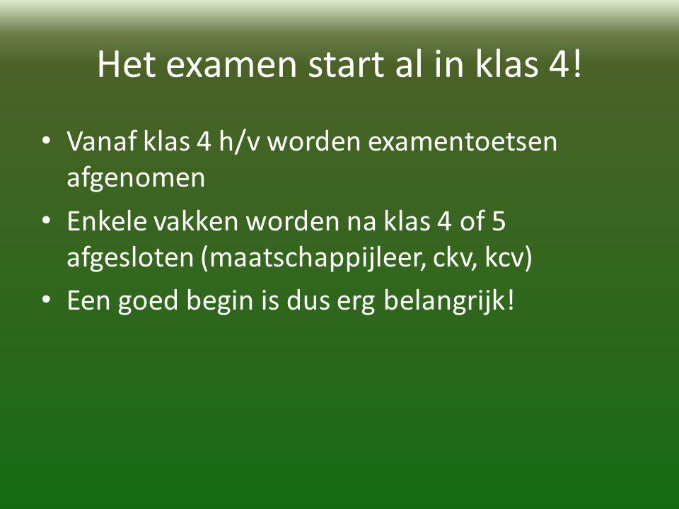 Het examen start al in klas 4.