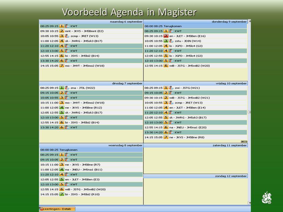 Voorbeeld Agenda in Magister Voorbeeld Agenda in Magister