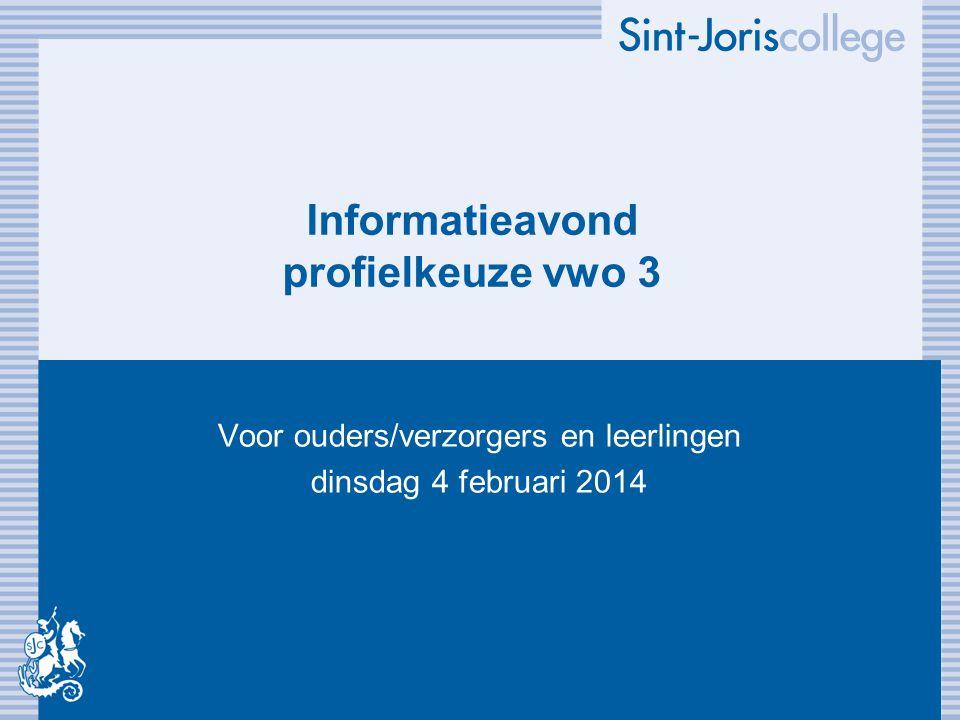 Informatieavond profielkeuze vwo 3 Voor ouders/verzorgers en leerlingen dinsdag 4 februari 2014