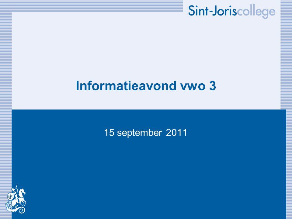 Informatieavond vwo 3 15 september 2011