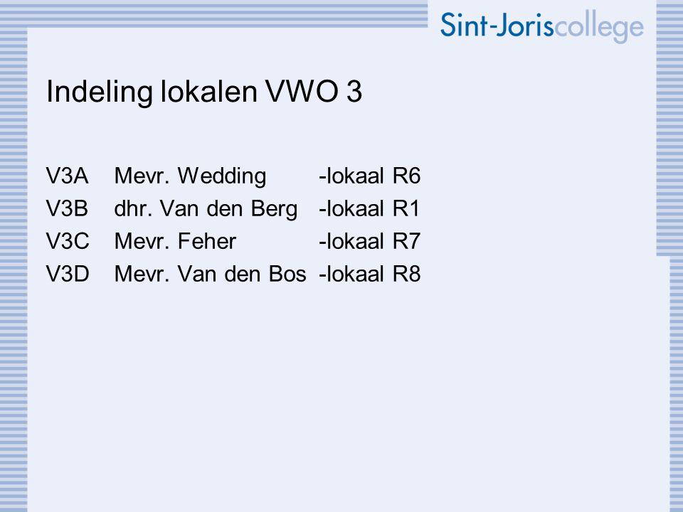 Indeling lokalen VWO 3 V3AMevr. Wedding-lokaal R6 V3Bdhr. Van den Berg-lokaal R1 V3CMevr. Feher-lokaal R7 V3DMevr. Van den Bos-lokaal R8