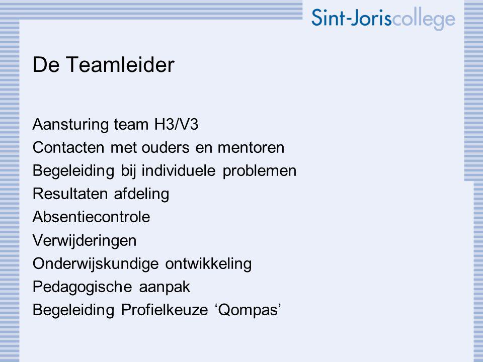 De Teamleider Aansturing team H3/V3 Contacten met ouders en mentoren Begeleiding bij individuele problemen Resultaten afdeling Absentiecontrole Verwij