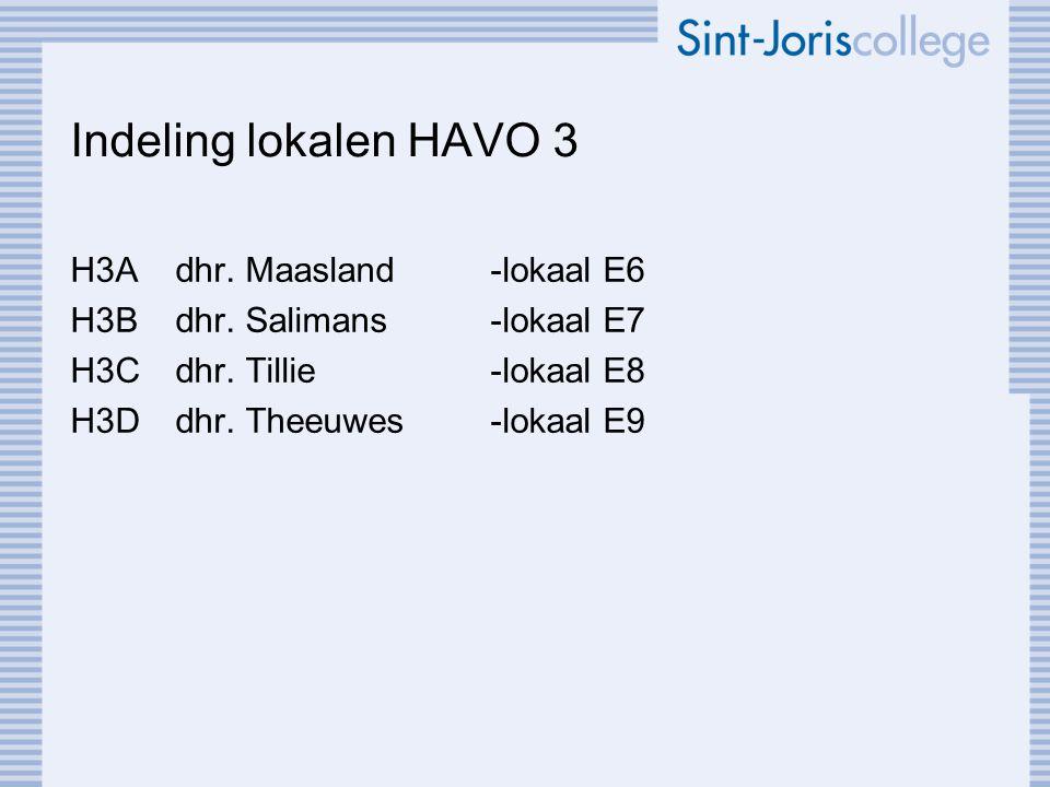 Indeling lokalen HAVO 3 H3Adhr. Maasland-lokaal E6 H3Bdhr.