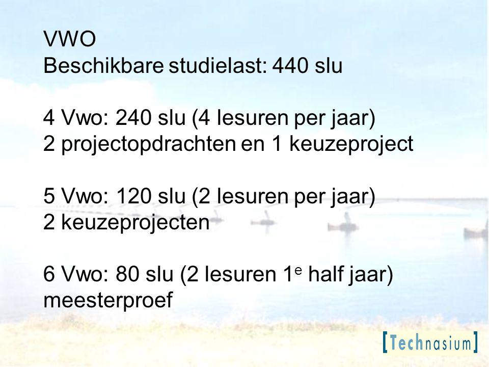 VWO Beschikbare studielast: 440 slu 4 Vwo: 240 slu (4 lesuren per jaar) 2 projectopdrachten en 1 keuzeproject 5 Vwo: 120 slu (2 lesuren per jaar) 2 ke