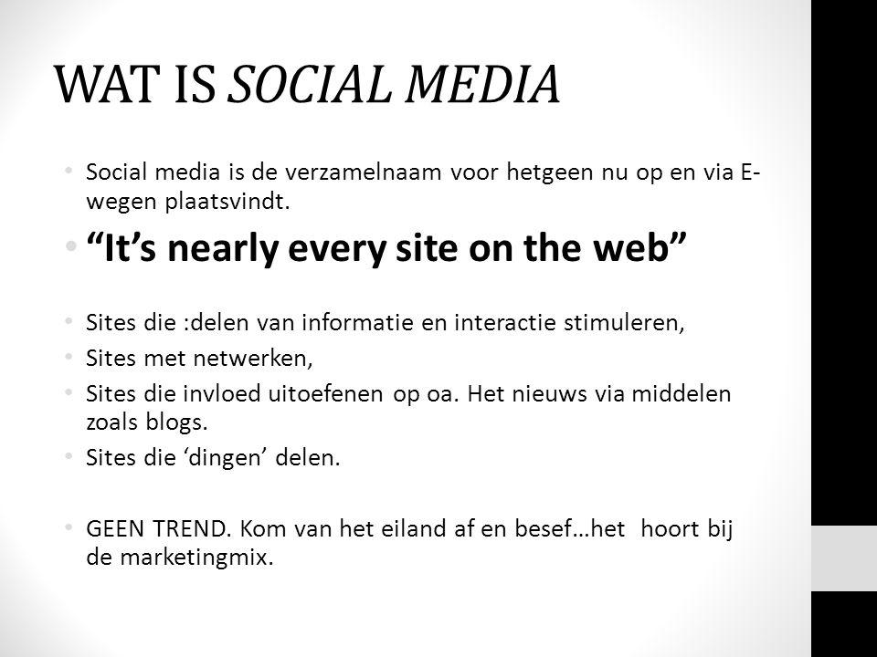 WAT IS SOCIAL MEDIA Social media is de verzamelnaam voor hetgeen nu op en via E- wegen plaatsvindt.