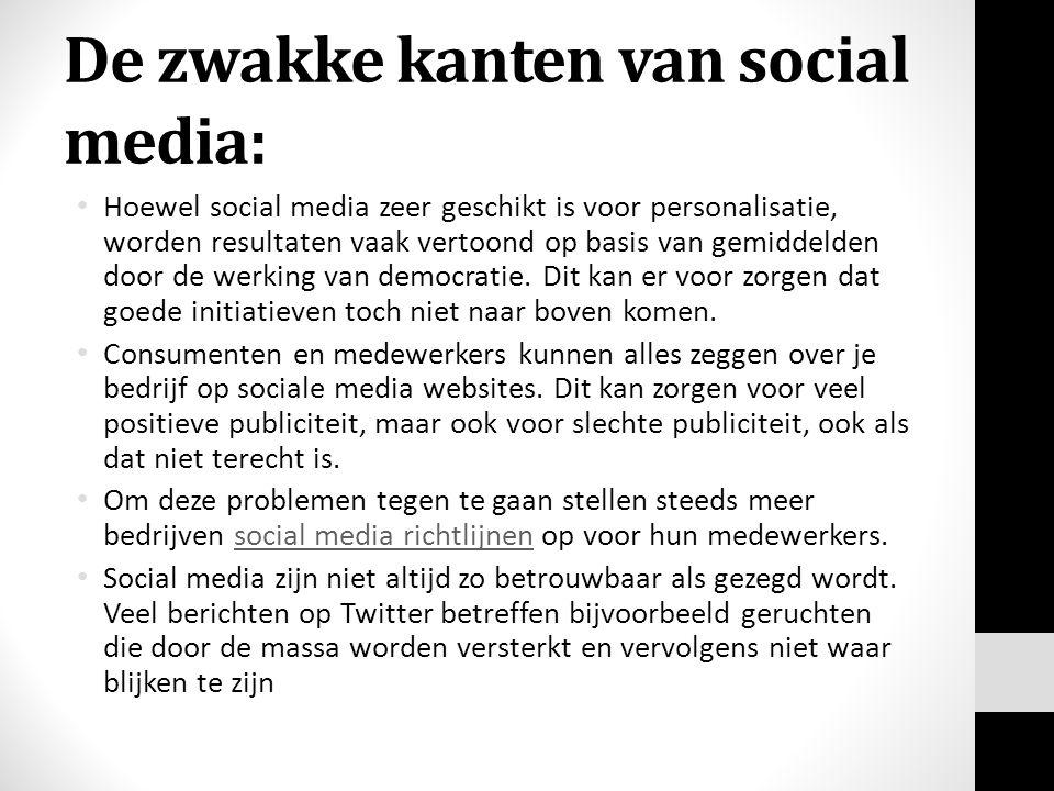 De zwakke kanten van social media: Hoewel social media zeer geschikt is voor personalisatie, worden resultaten vaak vertoond op basis van gemiddelden door de werking van democratie.