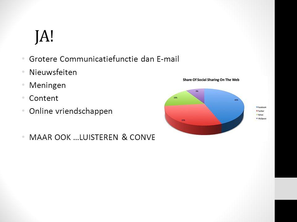 JA! Grotere Communicatiefunctie dan E-mail Nieuwsfeiten Meningen Content Online vriendschappen MAAR OOK …LUISTEREN & CONVERSEREN