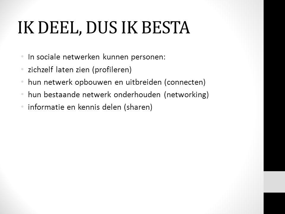 IK DEEL, DUS IK BESTA In sociale netwerken kunnen personen: zichzelf laten zien (profileren) hun netwerk opbouwen en uitbreiden (connecten) hun bestaande netwerk onderhouden (networking) informatie en kennis delen (sharen)