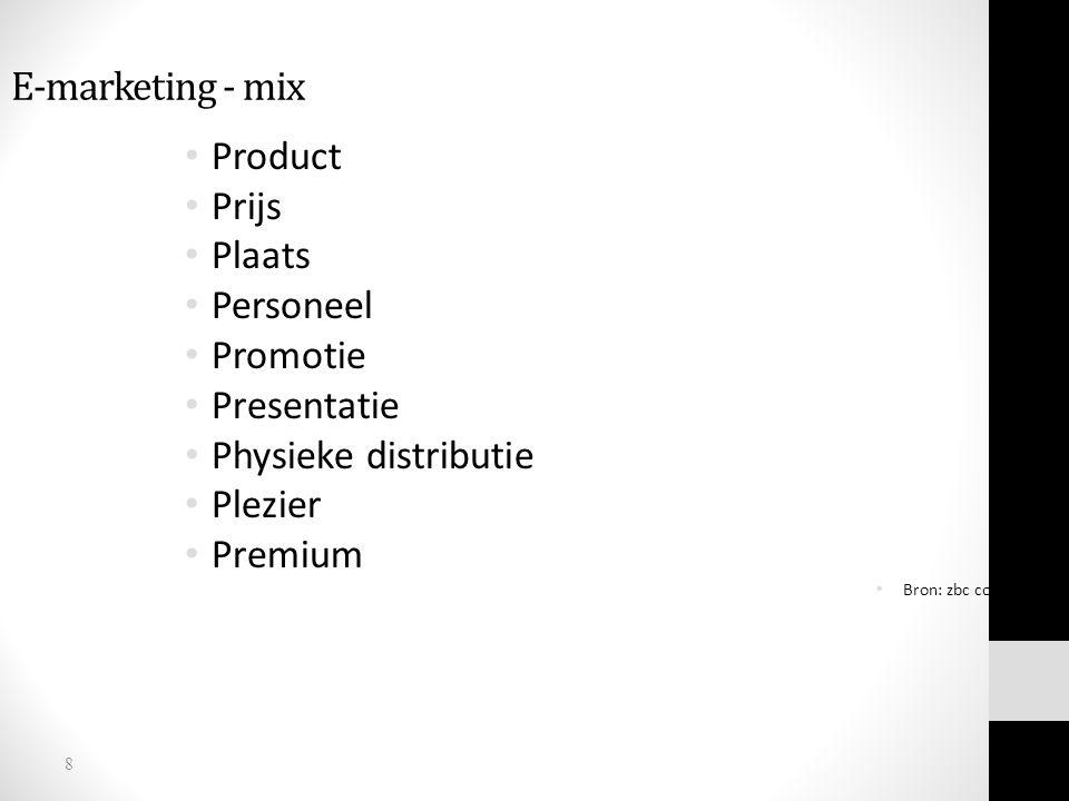 8 E-marketing - mix Product Prijs Plaats Personeel Promotie Presentatie Physieke distributie Plezier Premium Bron: zbc consultancy