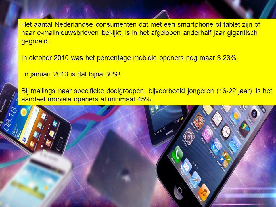 Het aantal Nederlandse consumenten dat met een smartphone of tablet zijn of haar e-mailnieuwsbrieven bekijkt, is in het afgelopen anderhalf jaar gigan