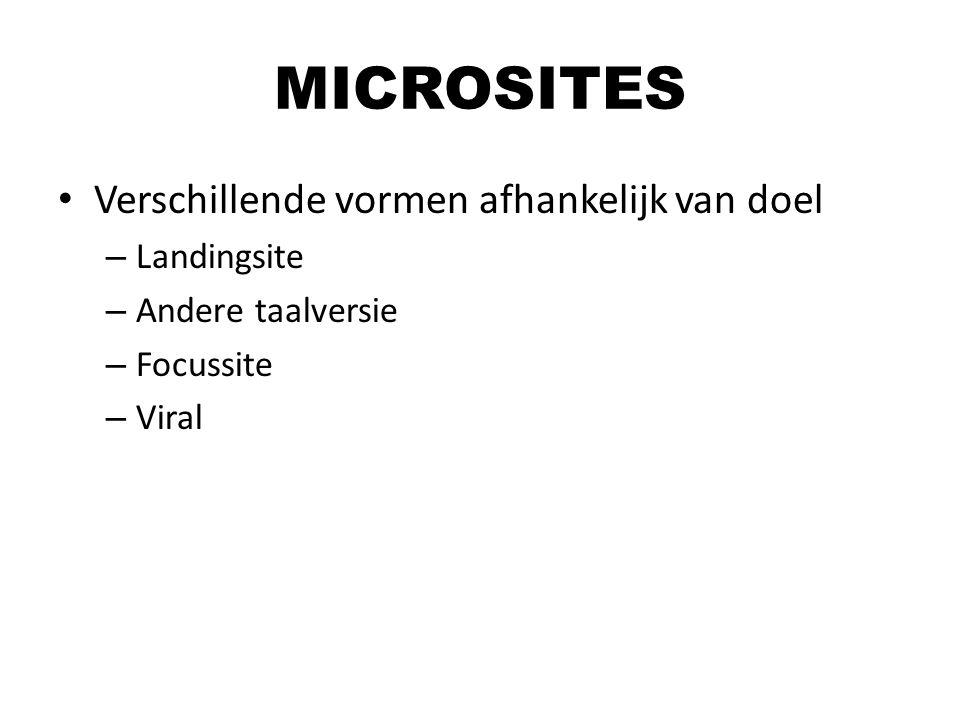 Verschillende vormen afhankelijk van doel – Landingsite – Andere taalversie – Focussite – Viral MICROSITES