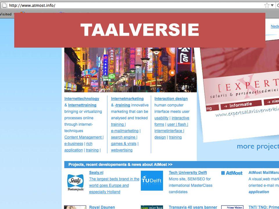 Taalversie is een site die niet zomaar los gepresenteerd kan worden.
