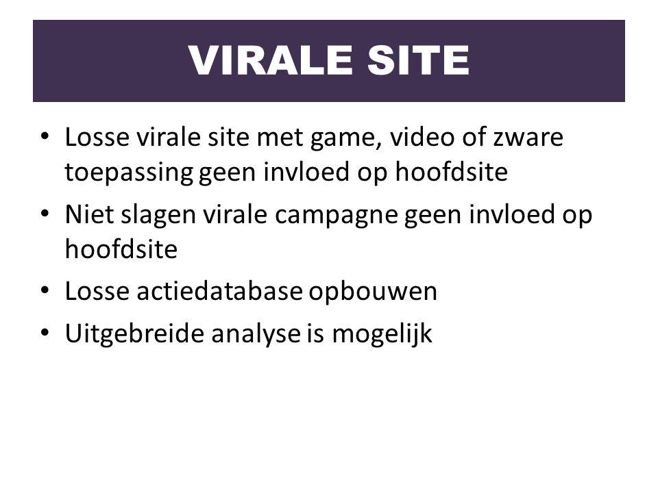 Losse virale site met game, video of zware toepassing geen invloed op hoofdsite Niet slagen virale campagne geen invloed op hoofdsite Losse actiedatab