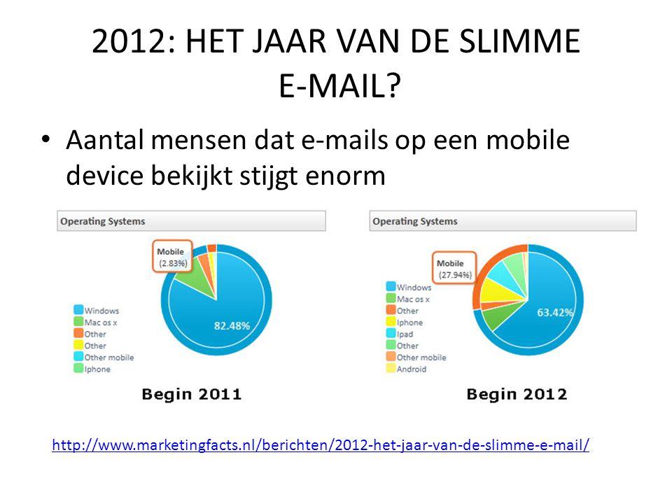 2012: HET JAAR VAN DE SLIMME E-MAIL? Aantal mensen dat e-mails op een mobile device bekijkt stijgt enorm http://www.marketingfacts.nl/berichten/2012-h